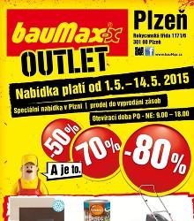Akční leták bauMax Outlet  Plzeň 2015