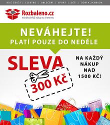 Akční leták Rozbaleno.cz Slevová akce 300 Kč