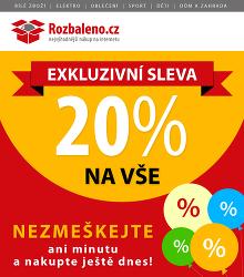 Akční leták Rozbaleno.cz Exkluzivní sleva 20% na vše